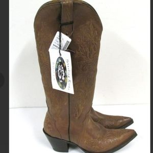 NEW STERLING RIVER EMBROIDERED BROWN BOOTS